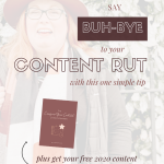 portrait image of Melanie Knights with white faded overlay and text with image of free content planner