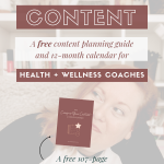 Image of woman, sitting in at home office, white opaque cover with text and image of content planner