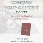 Image of woman sitting on yoga mat, tying her running shoes, white opaque overlay with text and image of planner