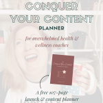 image of woman sitting in home office, drinking coffee and smiling, white opaque overlay with text and image of planner